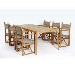 Haväng matbord 200x90 & 6 Regissörsstolar BLÅ