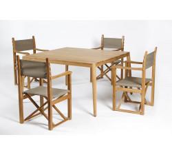 Haväng matbord 130x130 & 6 Regissörsstolar BLÅ